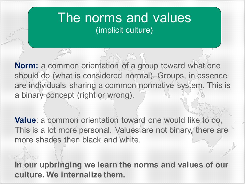 Norm: a common orientation of a group toward what one should do (what is considered normal). Groups, in essence are individuals sharing a common norma