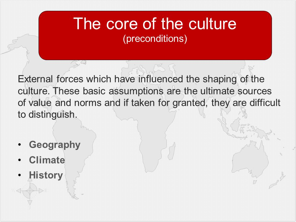 External forces which have influenced the shaping of the culture. These basic assumptions are the ultimate sources of value and norms and if taken for