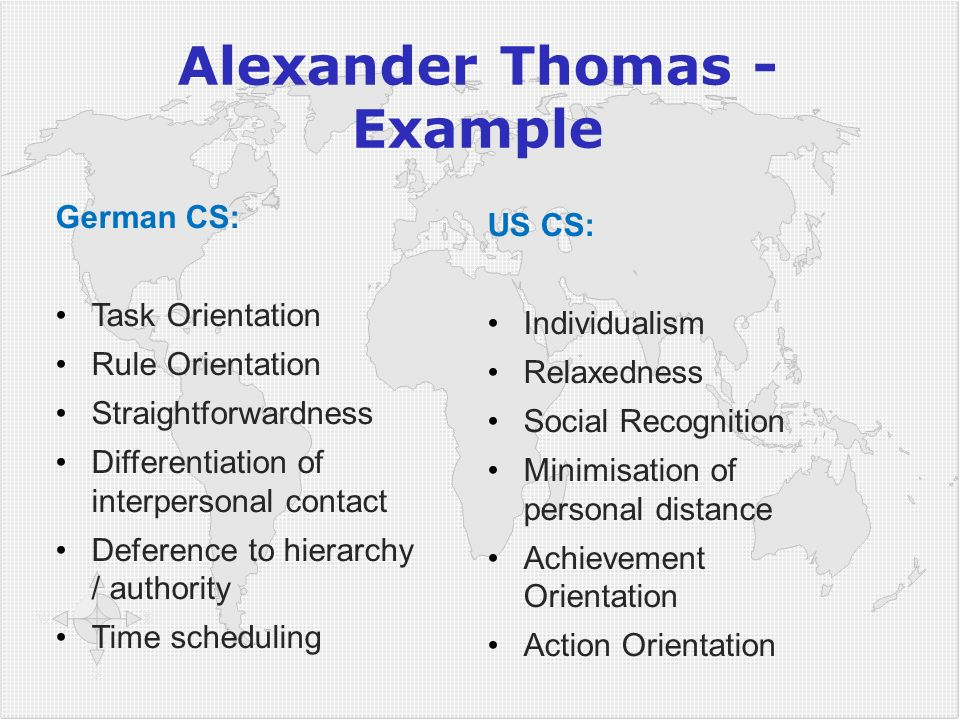 Alexander Thomas - Example German CS: Task Orientation Rule Orientation Straightforwardness Differentiation of interpersonal contact Deference to hier