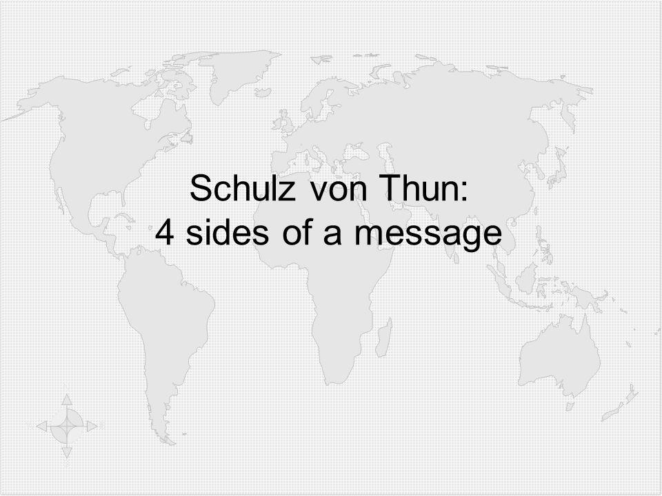 Klicken Sie, um die Formate des Gliederungstextes zu bearbeiten  Zweite Gliederungsebe ne Dritte Gliederungse bene  Vierte Gliederung sebene Fünfte Gliederu ngseben e Sechste Gliederu ngseben e Siebente Gliederu ngseben e Achte Gliederu ngseben e Neunte Gliederungsebene Textmasterformat bearbeiten Zweite Ebene Dritte Ebene Vierte Ebene Fünfte Ebene Schulz von Thun: 4 sides of a message