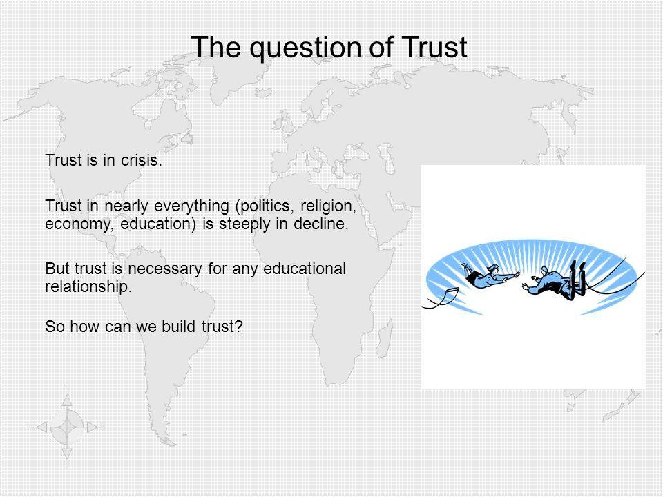 Klicken Sie, um die Formate des Gliederungstextes zu bearbeiten  Zweite Gliederungsebe ne Dritte Gliederungse bene  Vierte Gliederung sebene Fünfte Gliederu ngseben e Sechste Gliederu ngseben e Siebente Gliederu ngseben e Achte Gliederu ngseben e Neunte Gliederungsebene Textmasterformat bearbeiten Zweite Ebene Dritte Ebene Vierte Ebene Fünfte Ebene The question of Trust Trust is in crisis.
