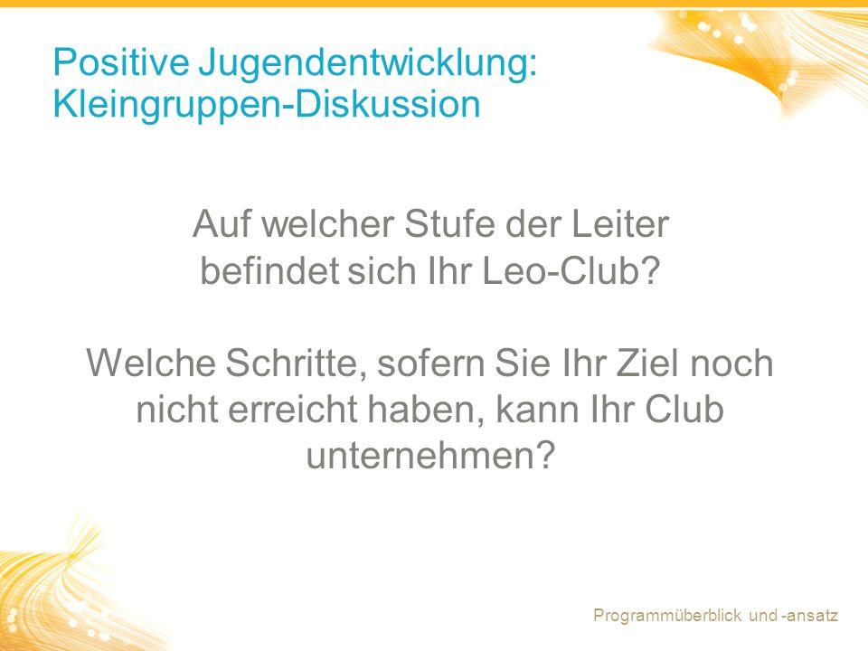 11 Positive Jugendentwicklung: Kleingruppen-Diskussion Auf welcher Stufe der Leiter befindet sich Ihr Leo-Club.