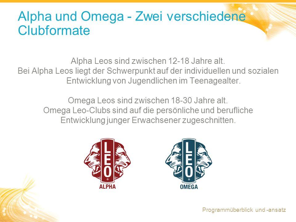 17 Alpha und Omega - Zwei verschiedene Clubformate Alpha Leos sind zwischen 12-18 Jahre alt. Bei Alpha Leos liegt der Schwerpunkt auf der individuelle