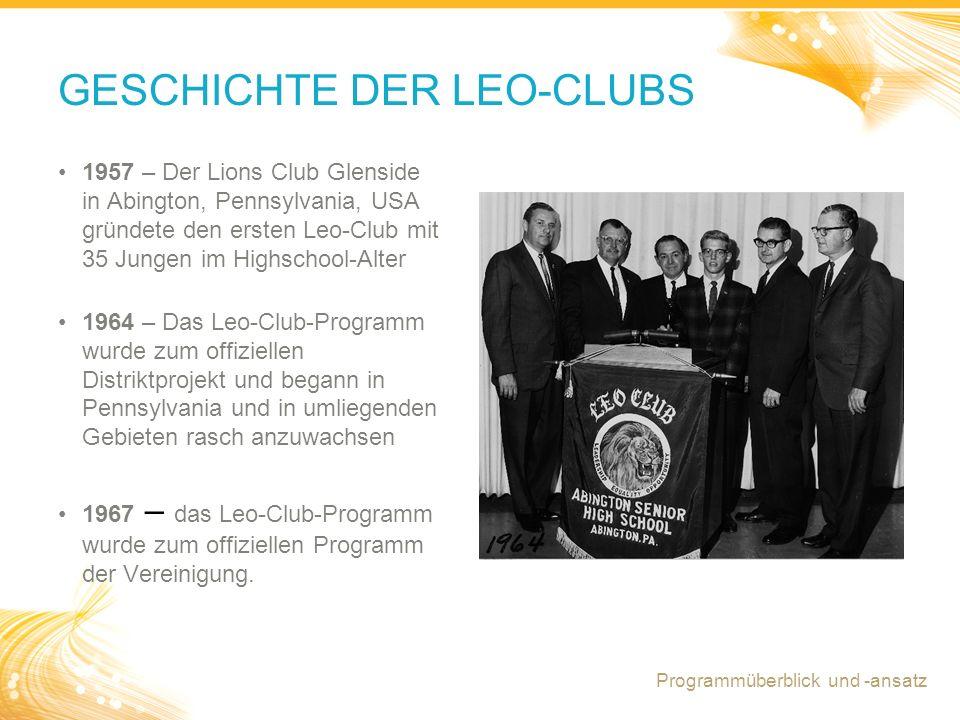 2 GESCHICHTE DER LEO-CLUBS Programmüberblick und -ansatz 1957 – Der Lions Club Glenside in Abington, Pennsylvania, USA gründete den ersten Leo-Club mit 35 Jungen im Highschool-Alter 1964 – Das Leo-Club-Programm wurde zum offiziellen Distriktprojekt und begann in Pennsylvania und in umliegenden Gebieten rasch anzuwachsen 1967 – das Leo-Club-Programm wurde zum offiziellen Programm der Vereinigung.