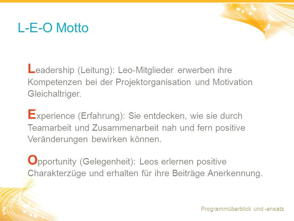 3 L-E-O Motto L eadership (Leitung): Leo-Mitglieder erwerben ihre Kompetenzen bei der Projektorganisation und Motivation Gleichaltriger. E xperience (