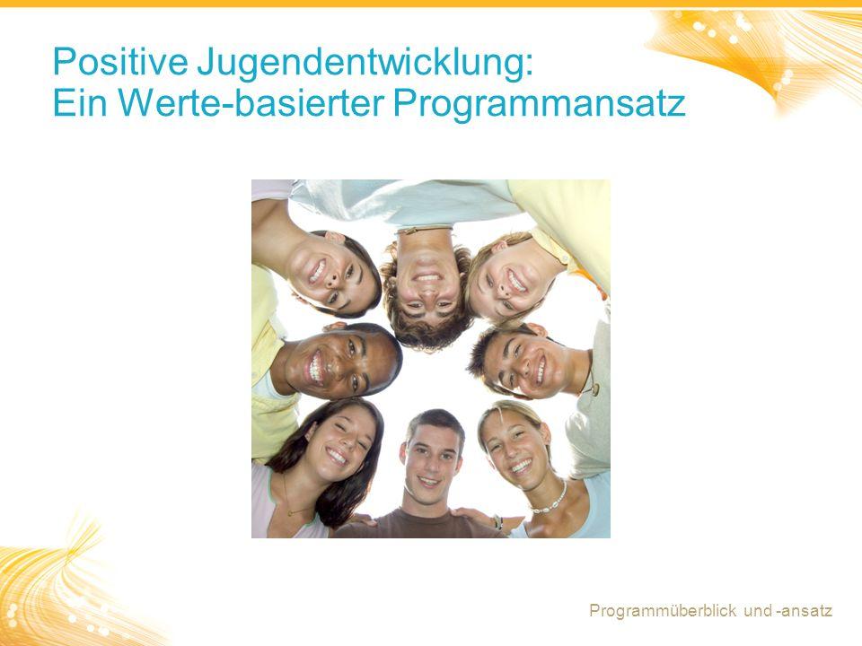 6 Positive Jugendentwicklung: Ein Werte-basierter Programmansatz Programmüberblick und -ansatz