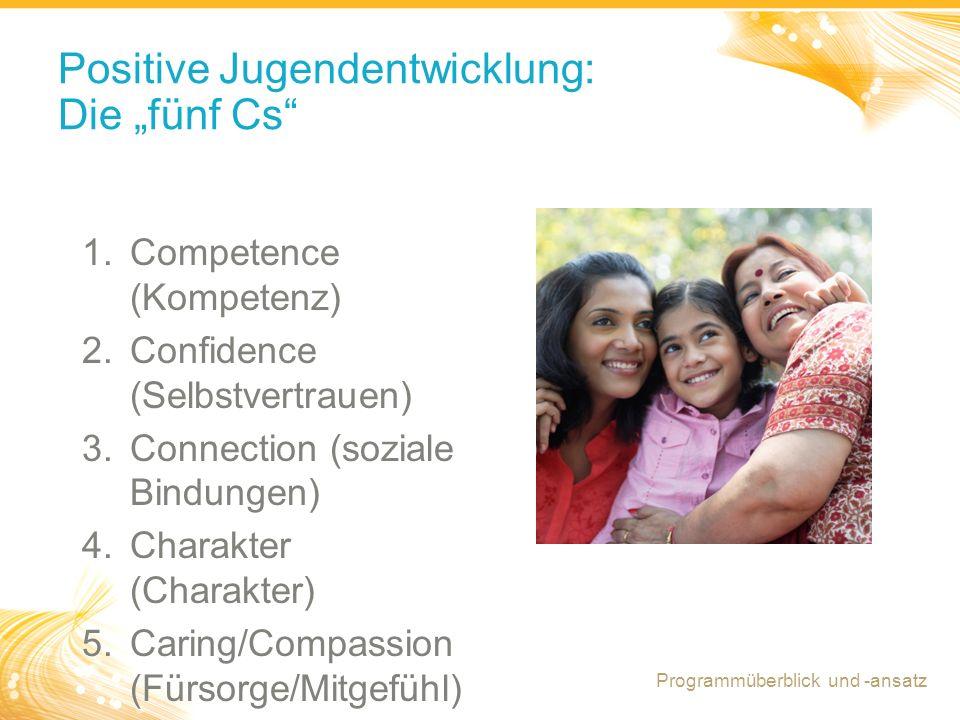 """7 Positive Jugendentwicklung: Die """"fünf Cs 1.Competence (Kompetenz) 2.Confidence (Selbstvertrauen) 3.Connection (soziale Bindungen) 4.Charakter (Charakter) 5.Caring/Compassion (Fürsorge/Mitgefühl) Programmüberblick und -ansatz"""