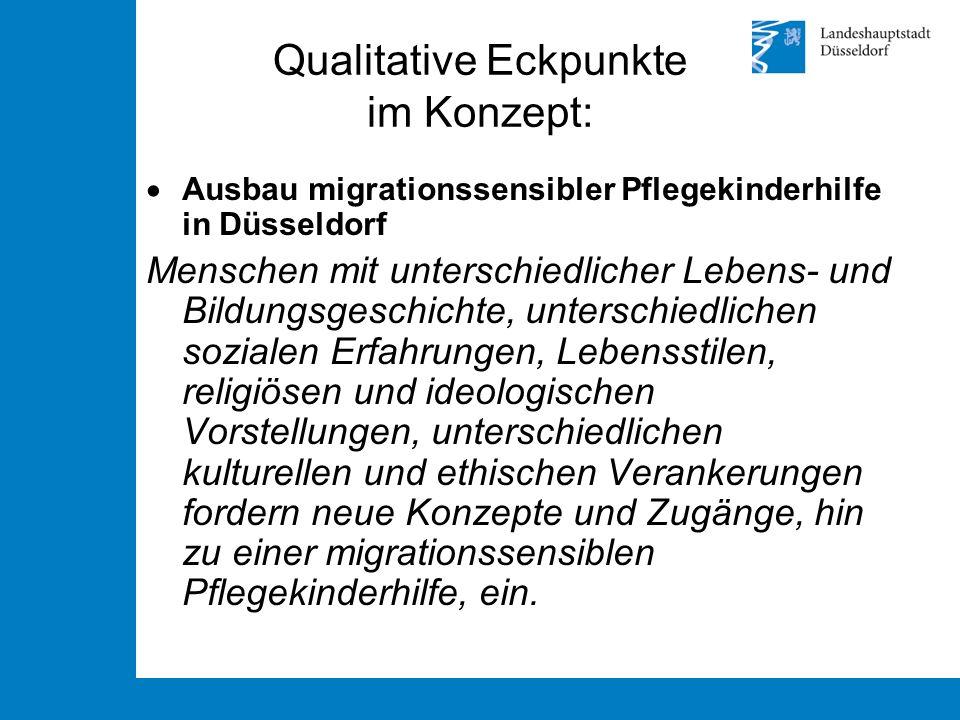 Qualitative Eckpunkte im Konzept:  Ausbau migrationssensibler Pflegekinderhilfe in Düsseldorf Menschen mit unterschiedlicher Lebens- und Bildungsgesc