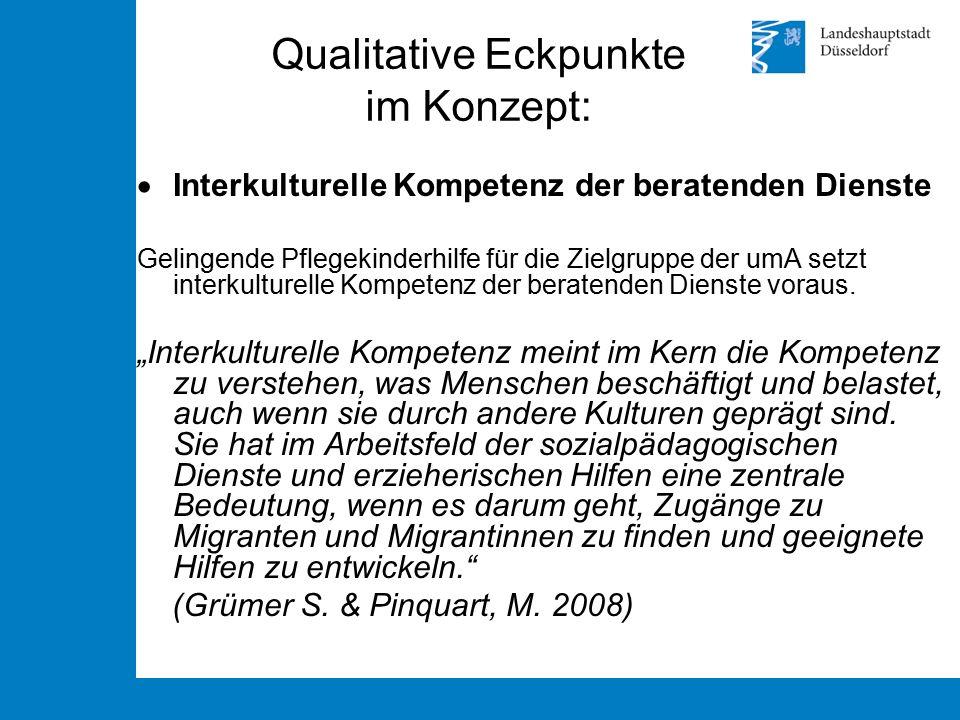 Qualitative Eckpunkte im Konzept:  Interkulturelle Kompetenz der beratenden Dienste Gelingende Pflegekinderhilfe für die Zielgruppe der umA setzt int