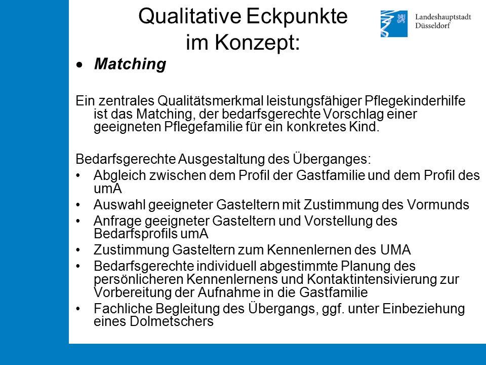 Qualitative Eckpunkte im Konzept:  Matching Ein zentrales Qualitätsmerkmal leistungsfähiger Pflegekinderhilfe ist das Matching, der bedarfsgerechte V