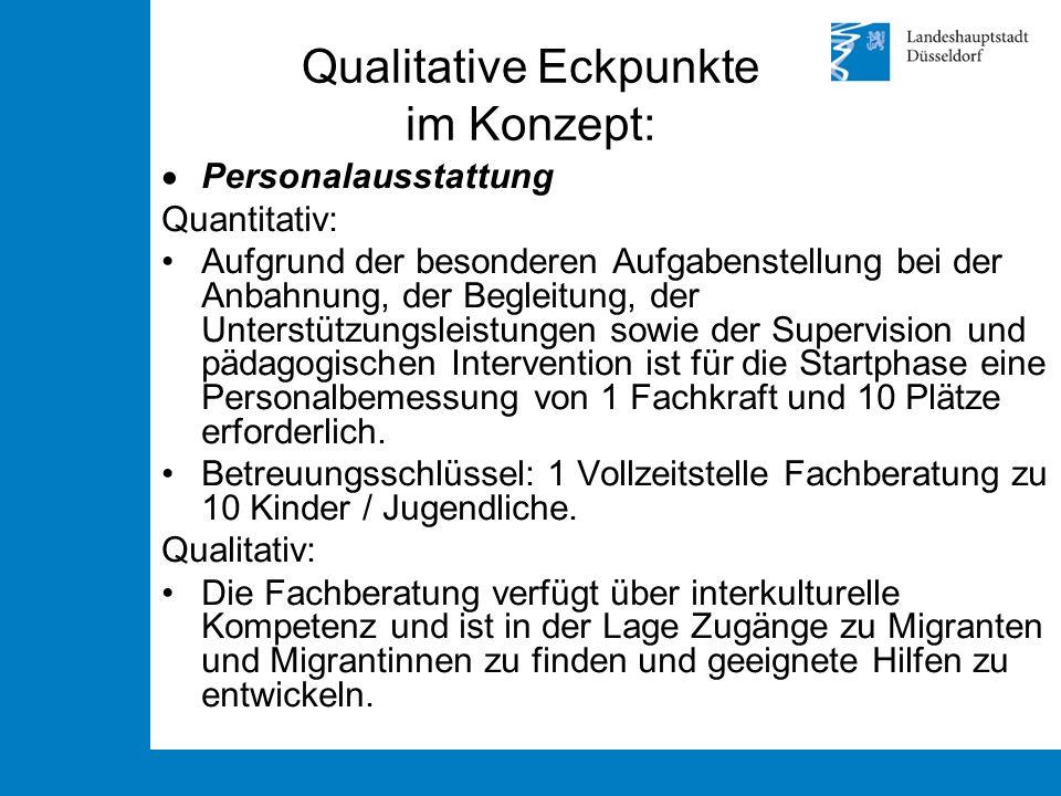 Qualitative Eckpunkte im Konzept:  Personalausstattung Quantitativ: Aufgrund der besonderen Aufgabenstellung bei der Anbahnung, der Begleitung, der U