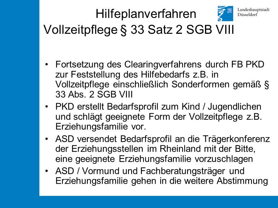 Hilfeplanverfahren Vollzeitpflege § 33 Satz 2 SGB VIII Fortsetzung des Clearingverfahrens durch FB PKD zur Feststellung des Hilfebedarfs z.B. in Vollz
