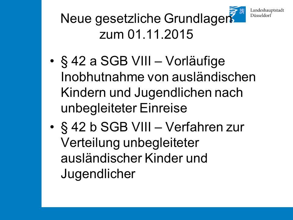Neue gesetzliche Grundlagen zum 01.11.2015 § 42 a SGB VIII – Vorläufige Inobhutnahme von ausländischen Kindern und Jugendlichen nach unbegleiteter Ein
