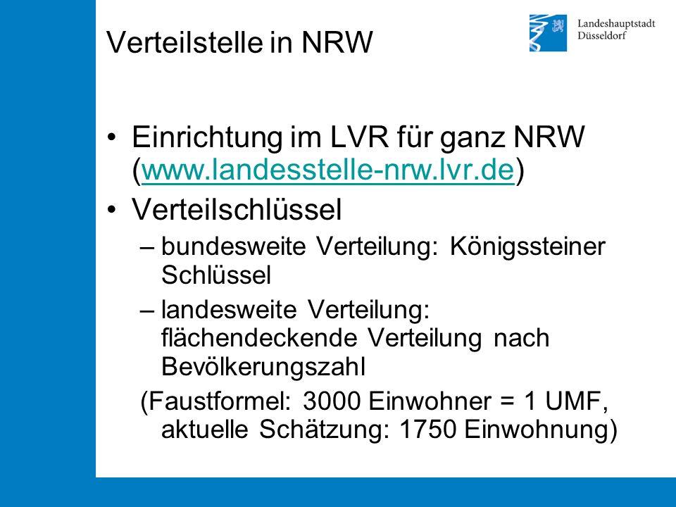 Verteilstelle in NRW Einrichtung im LVR für ganz NRW (www.landesstelle-nrw.lvr.de)www.landesstelle-nrw.lvr.de Verteilschlüssel –bundesweite Verteilung