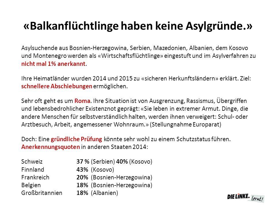 «Balkanflüchtlinge haben keine Asylgründe.» Asylsuchende aus Bosnien-Herzegowina, Serbien, Mazedonien, Albanien, dem Kosovo und Montenegro werden als