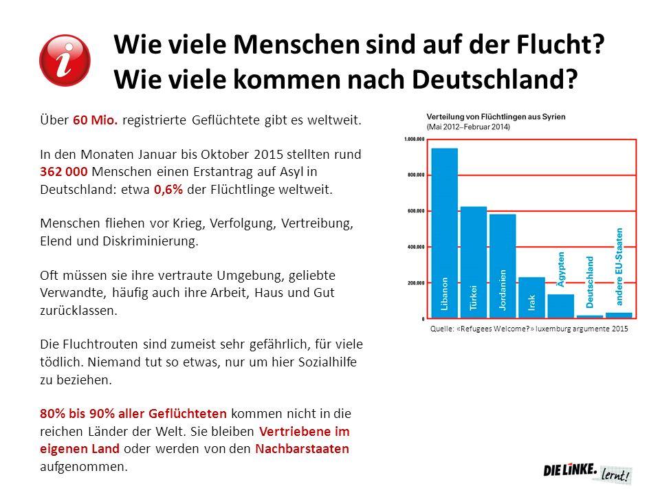 Wie viele Menschen sind auf der Flucht? Wie viele kommen nach Deutschland? Über 60 Mio. registrierte Geflüchtete gibt es weltweit. In den Monaten Janu