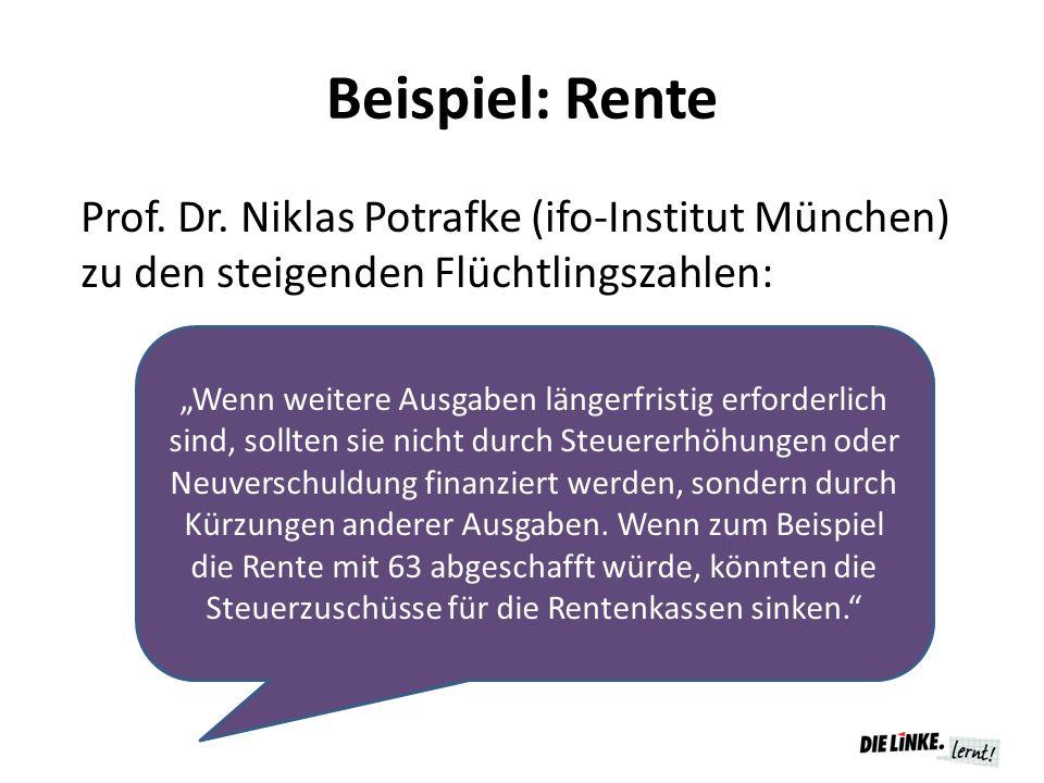 """Beispiel: Rente Prof. Dr. Niklas Potrafke (ifo-Institut München) zu den steigenden Flüchtlingszahlen: """"Wenn weitere Ausgaben längerfristig erforderlic"""