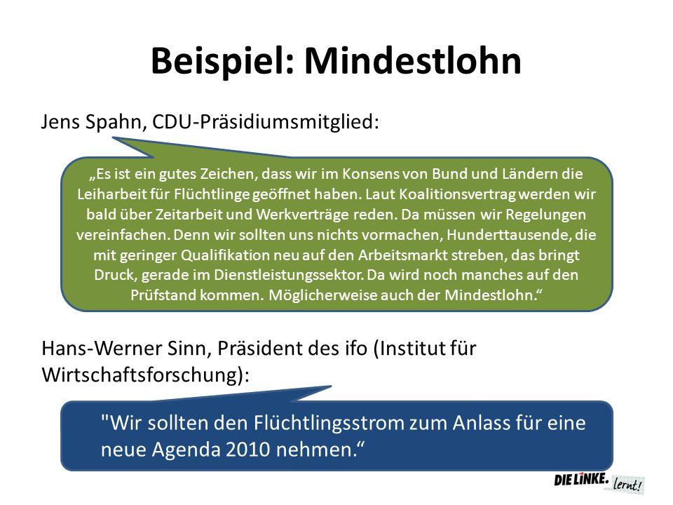 """Beispiel: Mindestlohn Jens Spahn, CDU-Präsidiumsmitglied: Hans-Werner Sinn, Präsident des ifo (Institut für Wirtschaftsforschung): """"Es ist ein gutes Z"""
