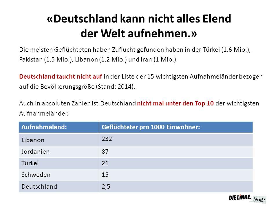 «Deutschland kann nicht alles Elend der Welt aufnehmen.» Die meisten Geflüchteten haben Zuflucht gefunden haben in der Türkei (1,6 Mio.), Pakistan (1,
