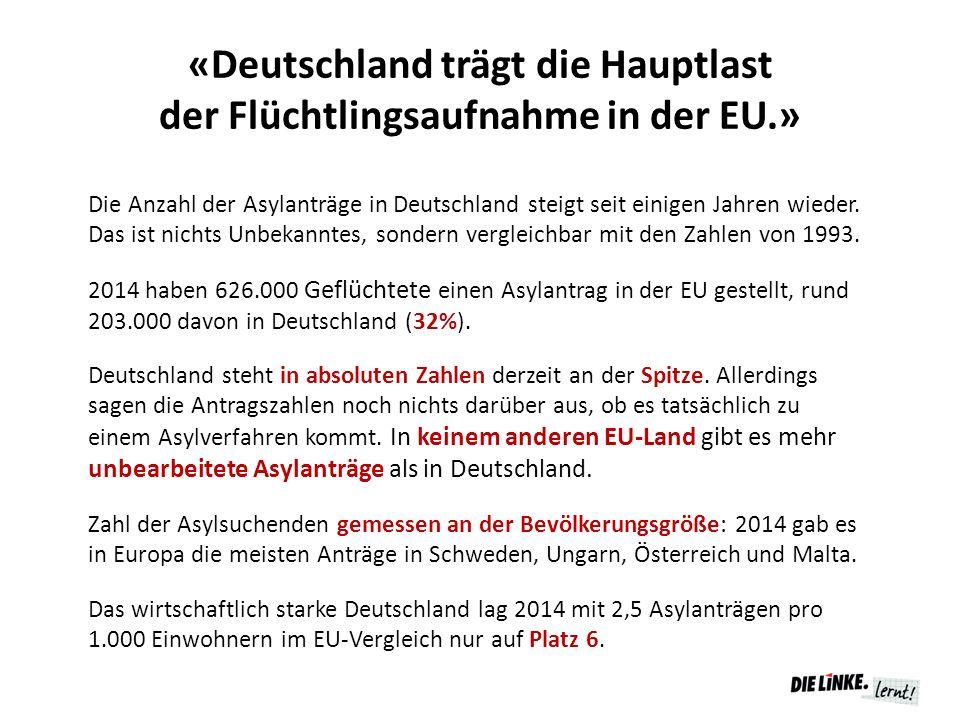 «Deutschland trägt die Hauptlast der Flüchtlingsaufnahme in der EU.» Die Anzahl der Asylanträge in Deutschland steigt seit einigen Jahren wieder. Das