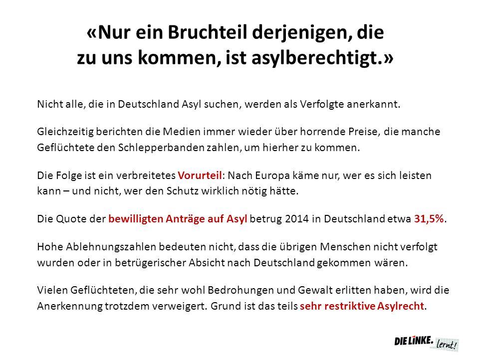 «Nur ein Bruchteil derjenigen, die zu uns kommen, ist asylberechtigt.» Nicht alle, die in Deutschland Asyl suchen, werden als Verfolgte anerkannt. Gle