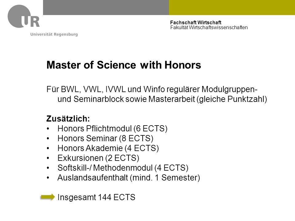 Fachschaft Wirtschaft Fakultät Wirtschaftswissenschaften Master of Science with Honors Für BWL, VWL, IVWL und Winfo regulärer Modulgruppen- und Semina