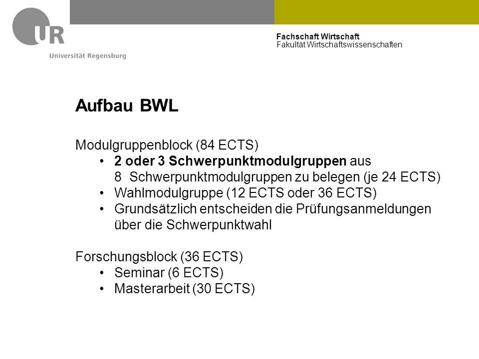 Fachschaft Wirtschaft Fakultät Wirtschaftswissenschaften Aufbau BWL Modulgruppenblock (84 ECTS) 2 oder 3 Schwerpunktmodulgruppen aus 8 Schwerpunktmodu