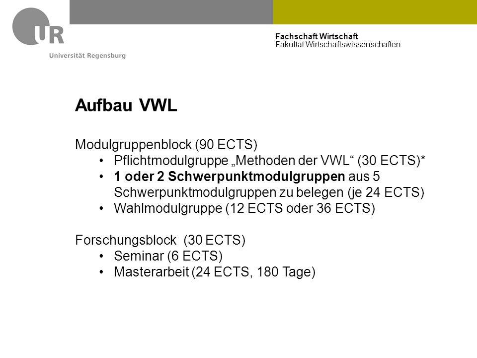 """Fachschaft Wirtschaft Fakultät Wirtschaftswissenschaften Aufbau VWL Modulgruppenblock (90 ECTS) Pflichtmodulgruppe """"Methoden der VWL"""" (30 ECTS)* 1 ode"""