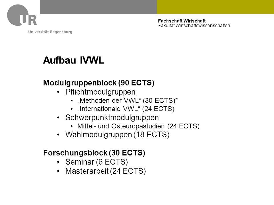 """Fachschaft Wirtschaft Fakultät Wirtschaftswissenschaften Aufbau IVWL Modulgruppenblock (90 ECTS) Pflichtmodulgruppen """"Methoden der VWL"""" (30 ECTS)* """"In"""