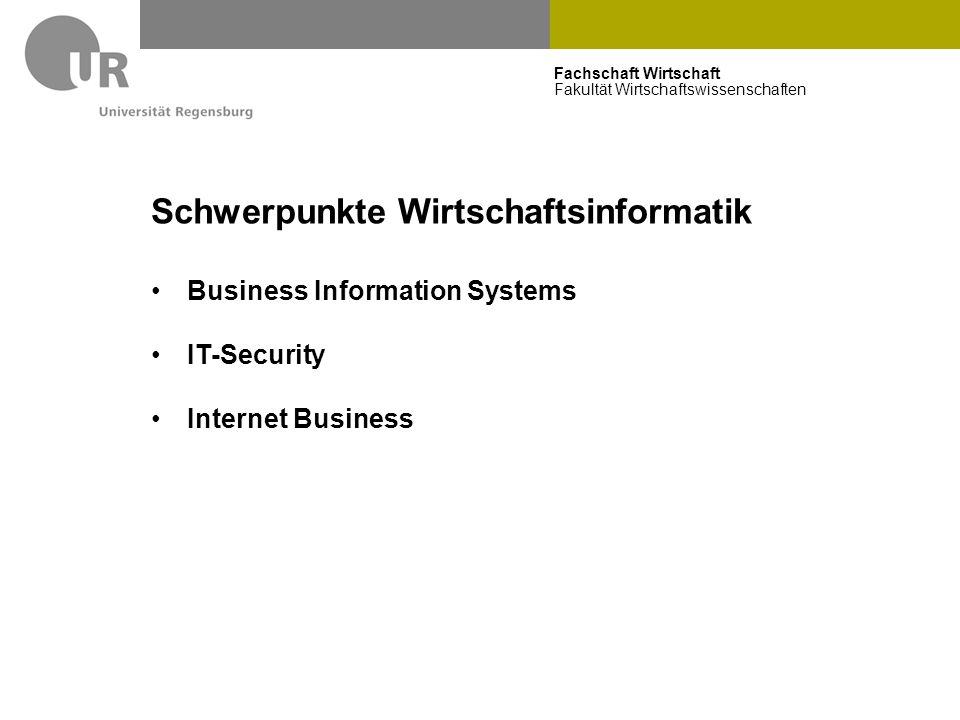 Fachschaft Wirtschaft Fakultät Wirtschaftswissenschaften Schwerpunkte Wirtschaftsinformatik Business Information Systems IT-Security Internet Business