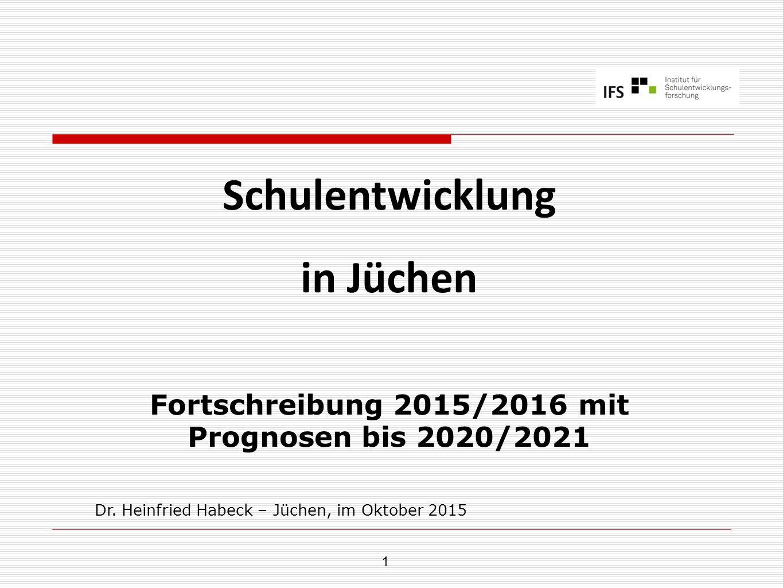 1 Schulentwicklung in Jüchen Fortschreibung 2015/2016 mit Prognosen bis 2020/2021 Dr. Heinfried Habeck – Jüchen, im Oktober 2015