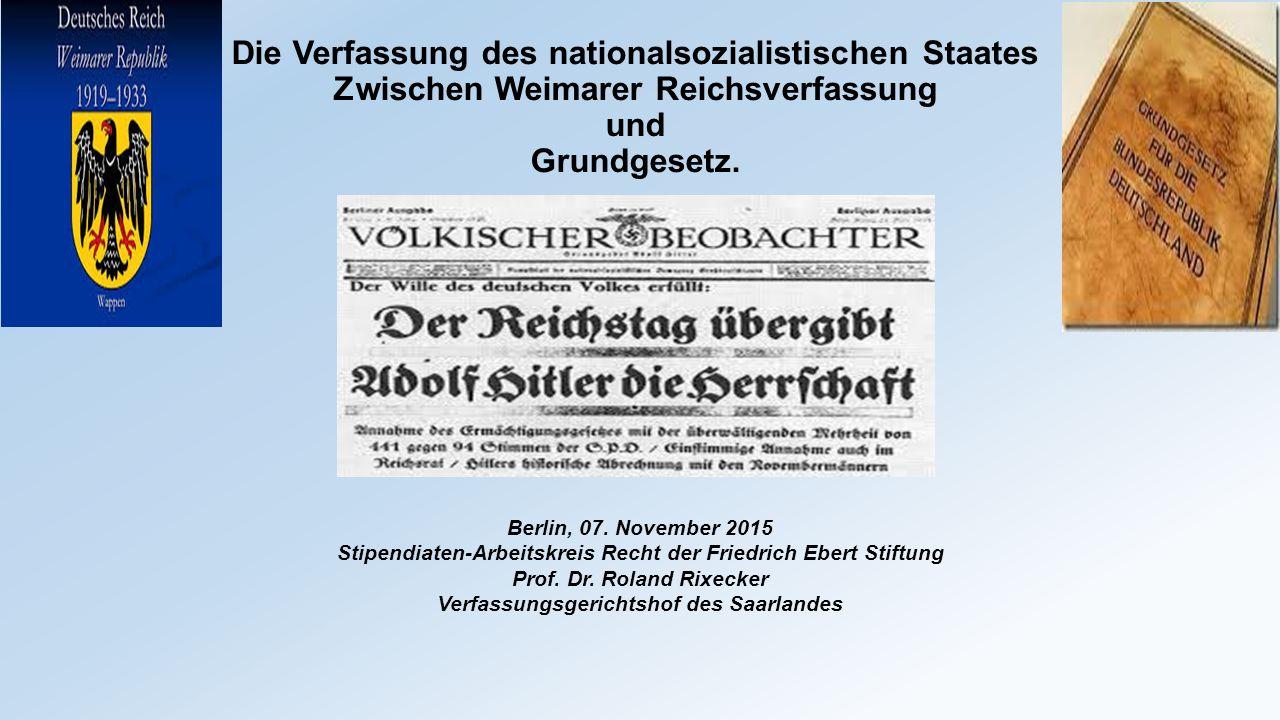 """Aufhebung der horizontalen Gewaltenteilung Gesetz zur Behebung der Not von Volk und Reich vom 24.03.1933 (""""Ermächtigungsgesetz ) """"mit verfassungsändernder Mehrheit  Reichsgesetze können auch von der Reichsregierung beschlossen werden."""