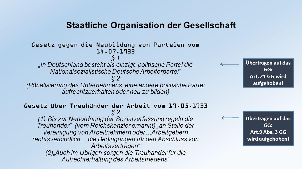 """Staatliche Organisation der Gesellschaft Gesetz gegen die Neubildung von Parteien vom 14.07.1933 § 1 """"In Deutschland besteht als einzige politische Pa"""