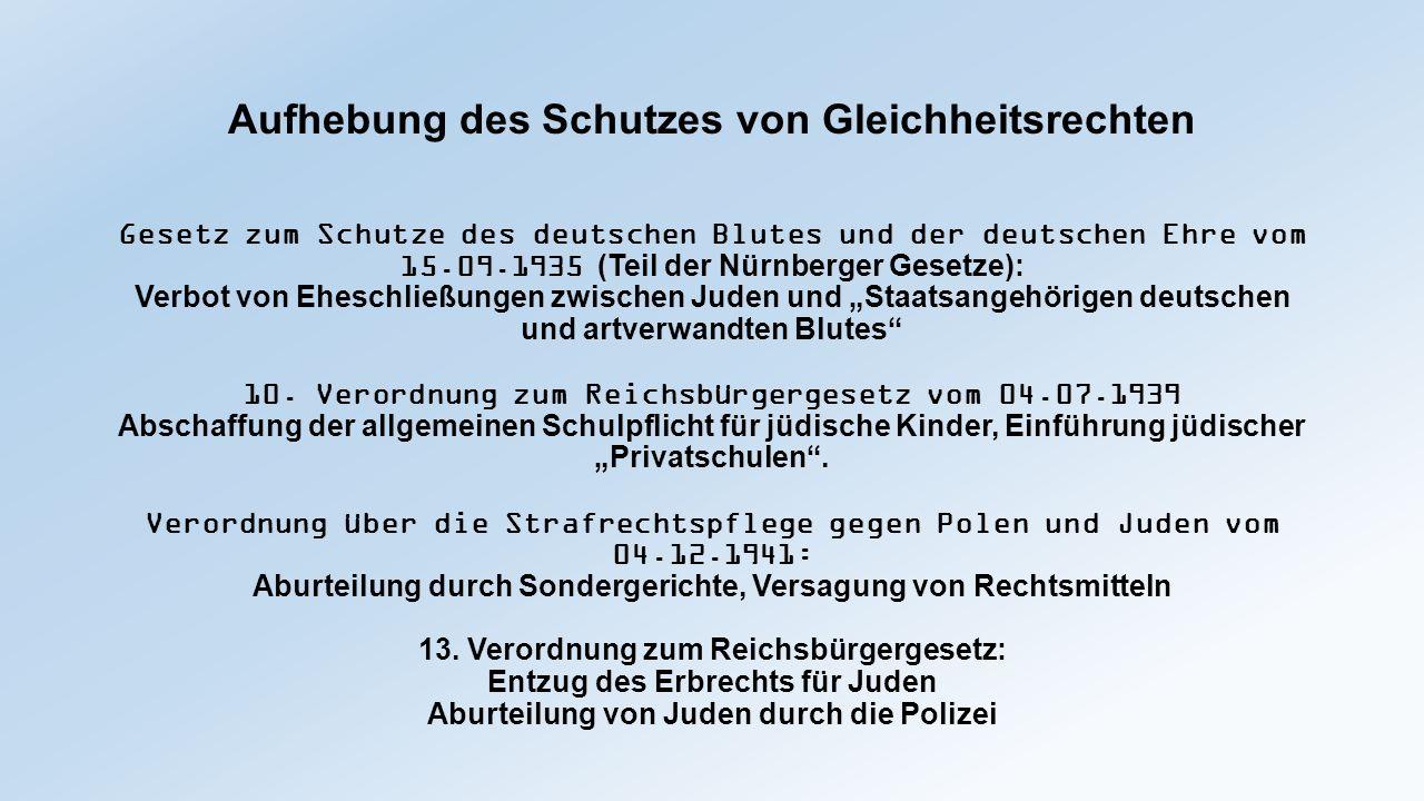 Aufhebung des Schutzes von Gleichheitsrechten Gesetz zum Schutze des deutschen Blutes und der deutschen Ehre vom 15.09.1935 (Teil der Nürnberger Geset