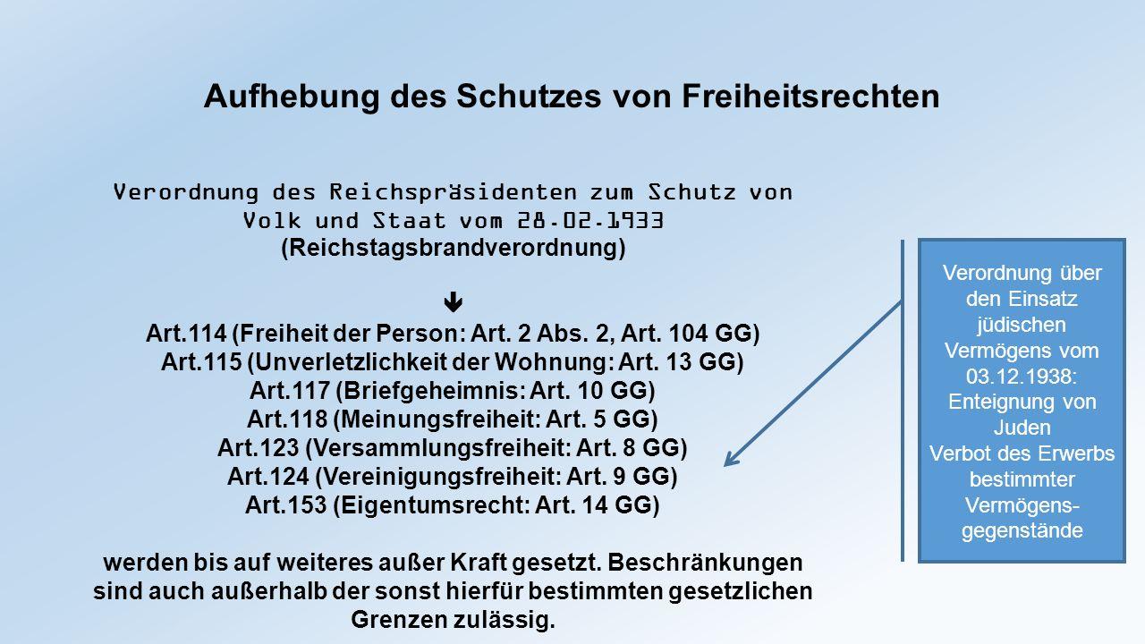 Aufhebung des Schutzes von Freiheitsrechten Verordnung des Reichspräsidenten zum Schutz von Volk und Staat vom 28.02.1933 (Reichstagsbrandverordnung)