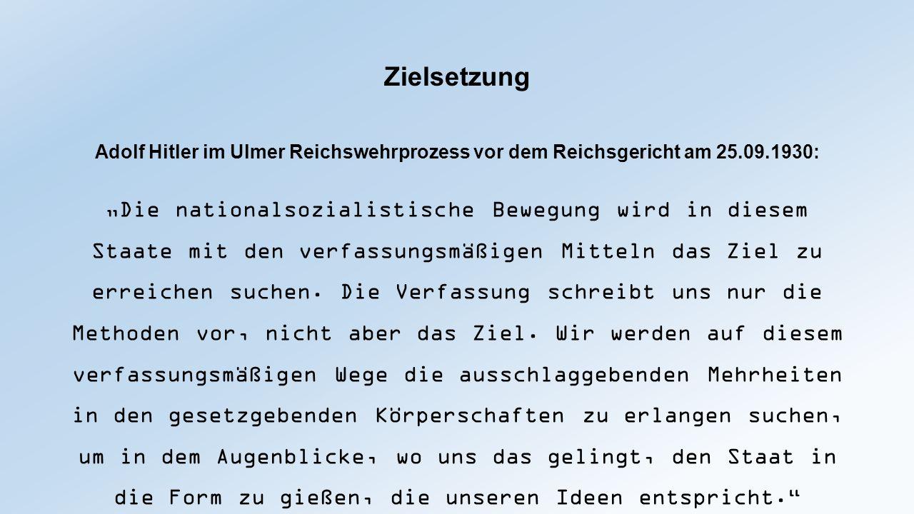 """Zielsetzung Adolf Hitler im Ulmer Reichswehrprozess vor dem Reichsgericht am 25.09.1930: """"Die nationalsozialistische Bewegung wird in diesem Staate mi"""