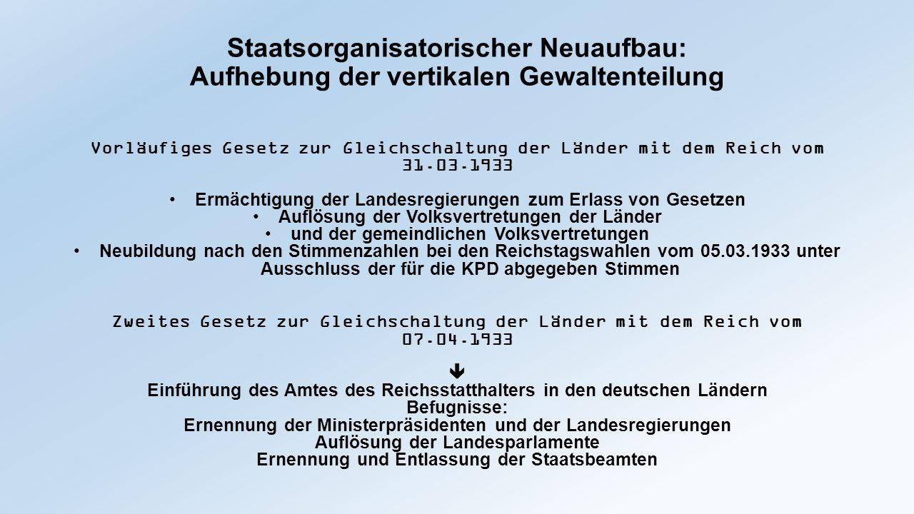 Staatsorganisatorischer Neuaufbau Aufhebung der vertikalen Gewaltenteilung Gesetz (des Reichstags) über den Neuaufbau des Reichs vom 30.01.1934 Art.1: Die Volksvertretungen der Länder werden aufgehoben.