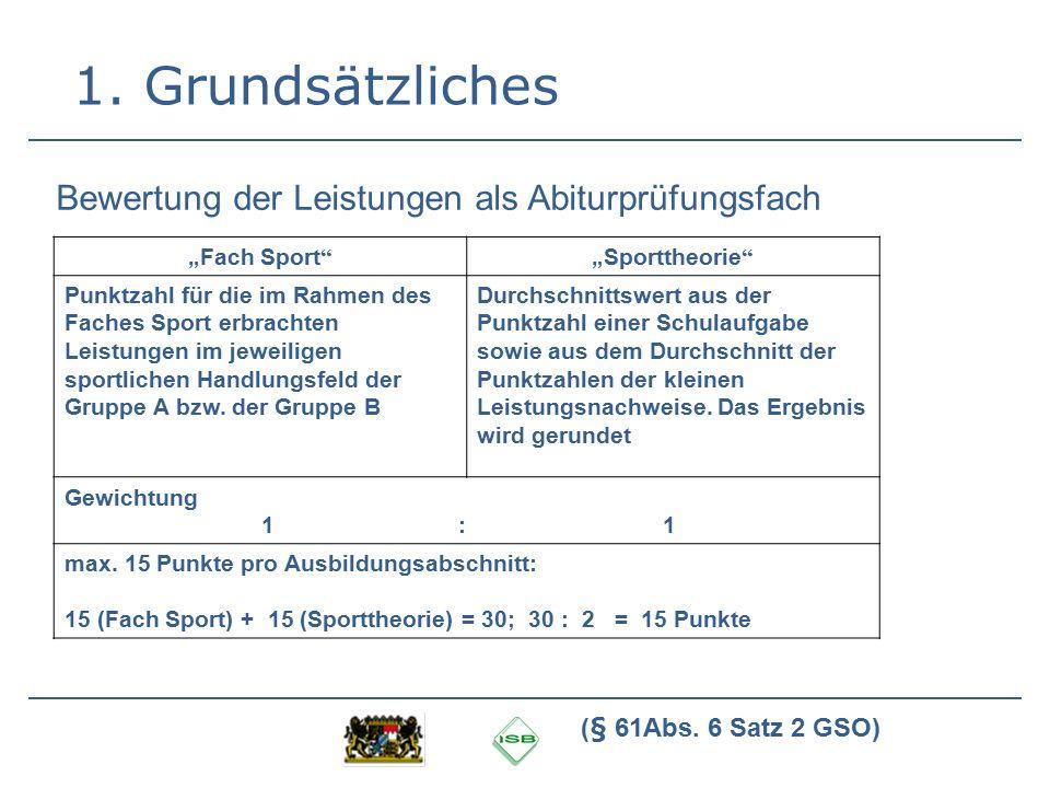 """1. Grundsätzliches """"Fach Sport""""""""Sporttheorie"""" Punktzahl für die im Rahmen des Faches Sport erbrachten Leistungen im jeweiligen sportlichen Handlungsfe"""