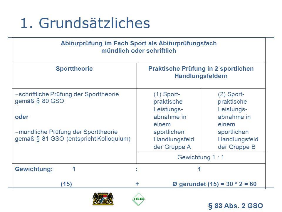 1. Grundsätzliches Abiturprüfung im Fach Sport als Abiturprüfungsfach mündlich oder schriftlich Sporttheorie Praktische Prüfung in 2 sportlichen Handl