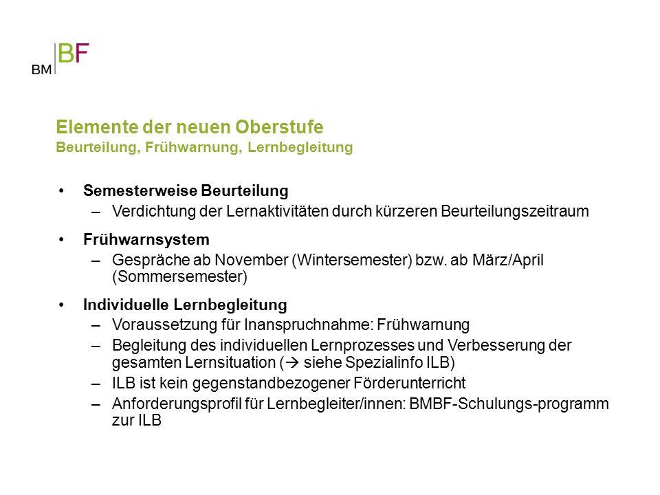 Semesterweise Beurteilung –Verdichtung der Lernaktivitäten durch kürzeren Beurteilungszeitraum Frühwarnsystem –Gespräche ab November (Wintersemester) bzw.