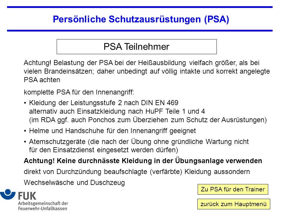 Persönliche Schutzausrüstungen (PSA) PSA Teilnehmer Achtung.