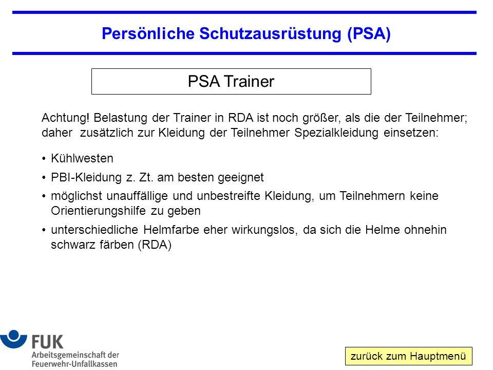 Persönliche Schutzausrüstung (PSA) PSA Trainer Achtung.