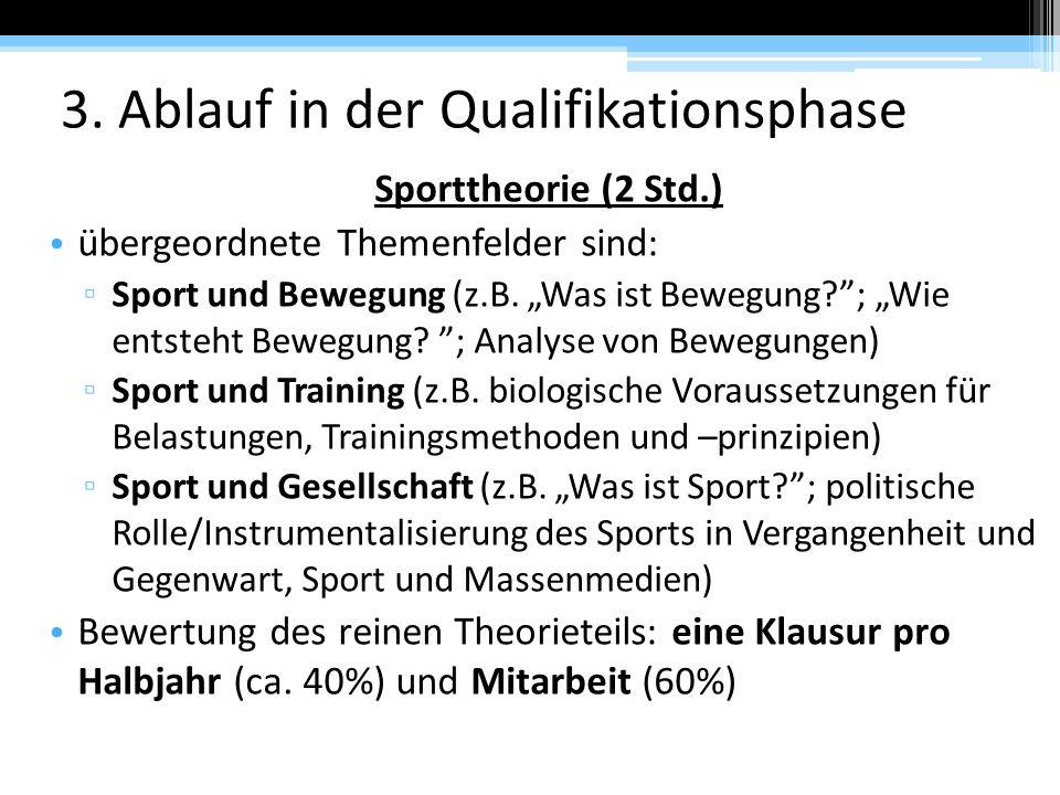 """3. Ablauf in der Qualifikationsphase Sporttheorie (2 Std.) übergeordnete Themenfelder sind: ▫ Sport und Bewegung (z.B. """"Was ist Bewegung?""""; """"Wie entst"""