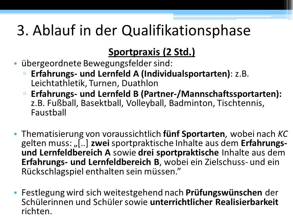 3. Ablauf in der Qualifikationsphase Sportpraxis (2 Std.) übergeordnete Bewegungsfelder sind: ▫ Erfahrungs- und Lernfeld A (Individualsportarten): z.B