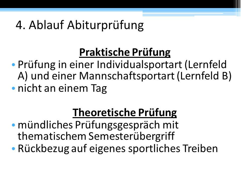 4. Ablauf Abiturprüfung Praktische Prüfung Prüfung in einer Individualsportart (Lernfeld A) und einer Mannschaftsportart (Lernfeld B) nicht an einem T