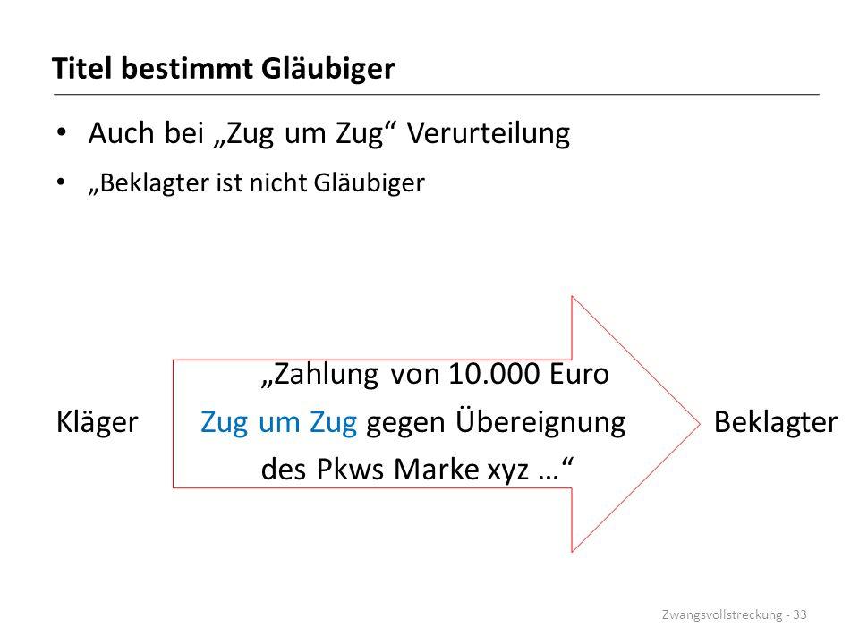"""Titel bestimmt Gläubiger Auch bei """"Zug um Zug"""" Verurteilung """"Beklagter ist nicht Gläubiger """"Zahlung von 10.000 Euro Kläger Zug um Zug gegen Übereignun"""