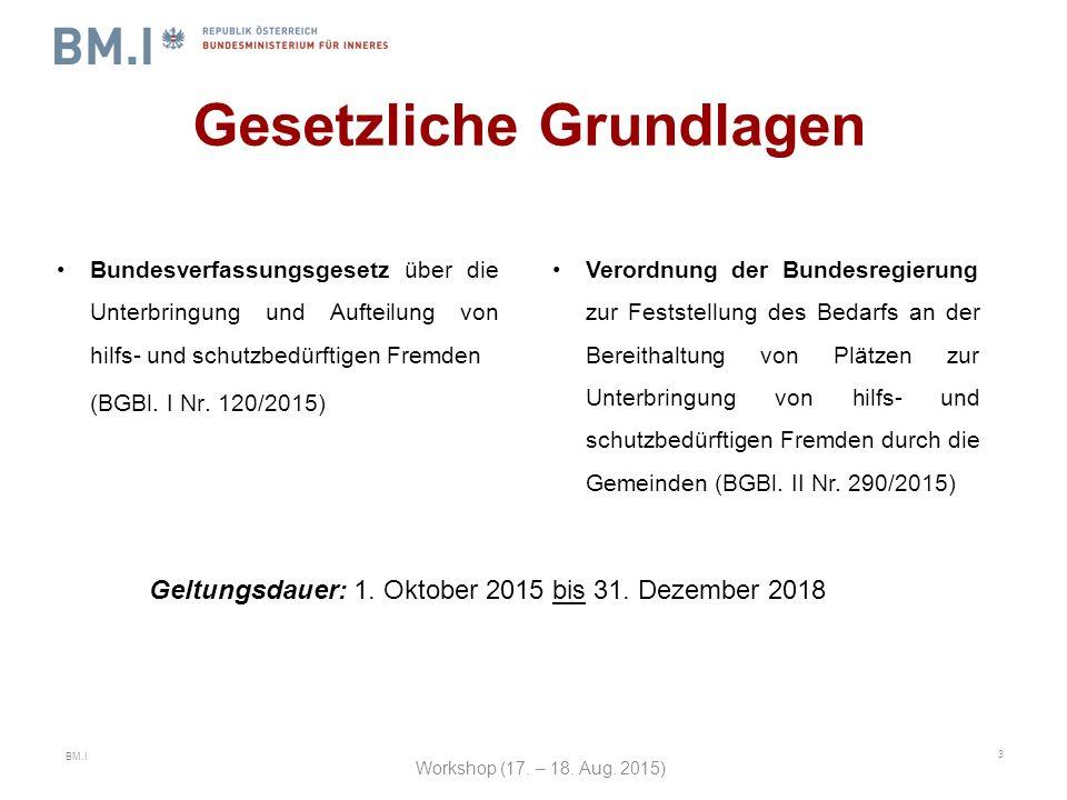 BM.I Gesetzliche Grundlagen Bundesverfassungsgesetz über die Unterbringung und Aufteilung von hilfs- und schutzbedürftigen Fremden (BGBl.
