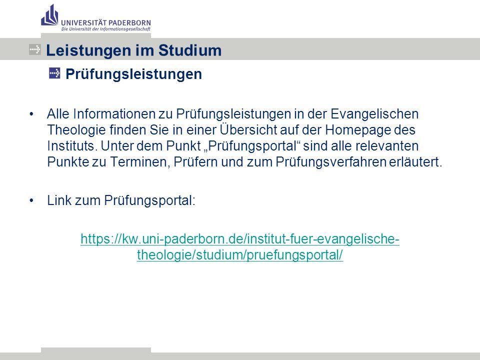Alle Informationen zu Prüfungsleistungen in der Evangelischen Theologie finden Sie in einer Übersicht auf der Homepage des Instituts.