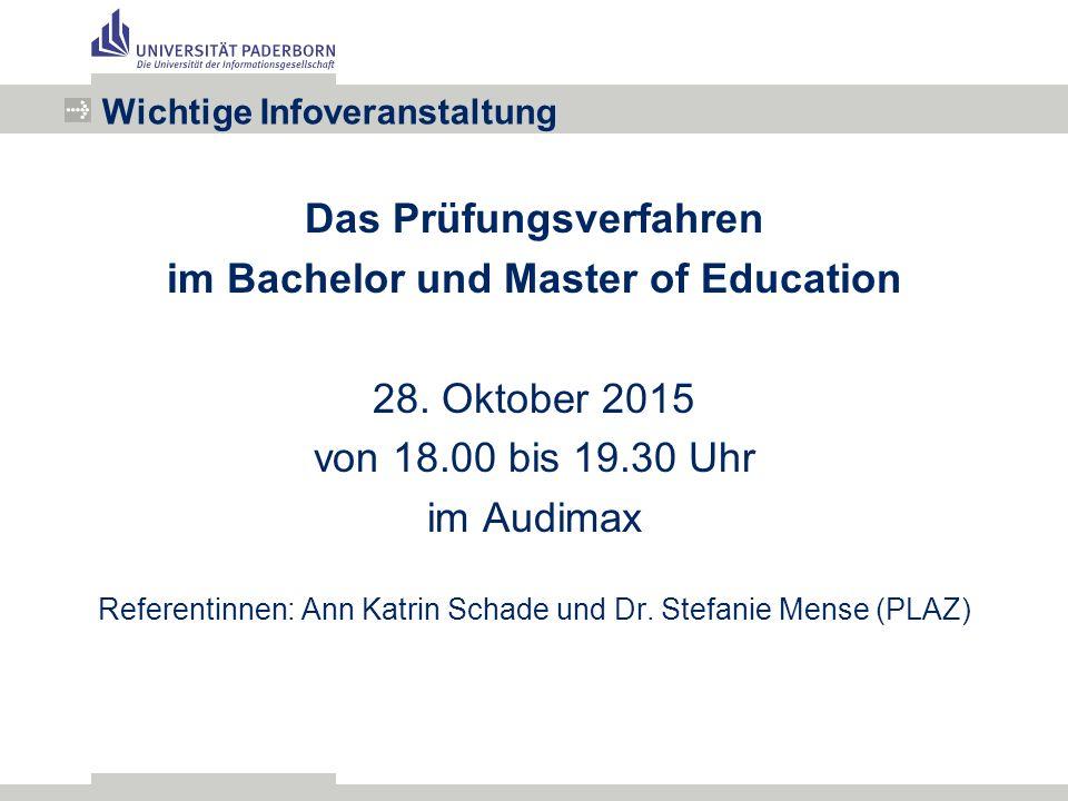 Das Prüfungsverfahren im Bachelor und Master of Education 28.