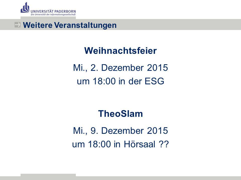 Weihnachtsfeier Mi., 2. Dezember 2015 um 18:00 in der ESG TheoSlam Mi., 9.